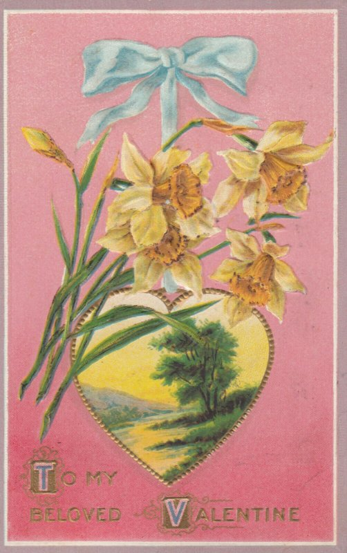 To My Beloved VALENTINE, 1900-10s; Scene in gold framed heart, flowers