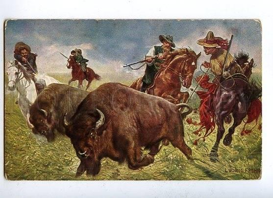 131284 COWBOYS Hunter HUNT by FROMME vintage Color PC