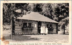 CHALK RIVER Ont Canada   MOORE'S CAMP  LOG CABIN  Dining Room  1940  Postcard