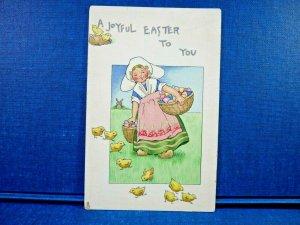 A Joyful Easter To You Girl w/ Basket of Eggs, Baby Chicks Raphael Tuck Postcard
