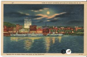 Vintage Postcard Night Scene Moon over Skyline of Wheeling West Virginia Linen