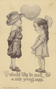 LEAP YEAR, 1900-10s; Little girl proposing to cook for a nice man, boy scout