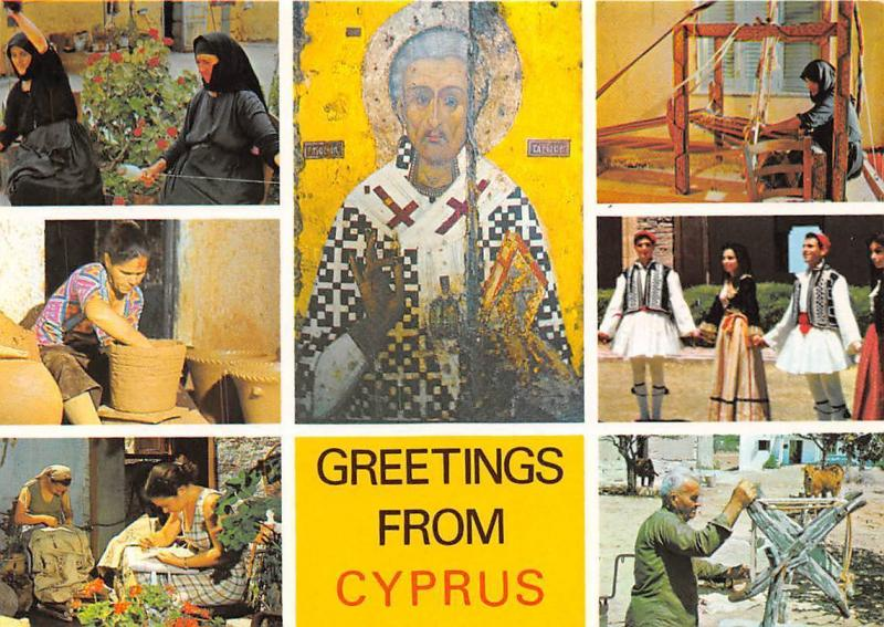 Greetings from Cyprus multiviews Women Traditional Costumes Church