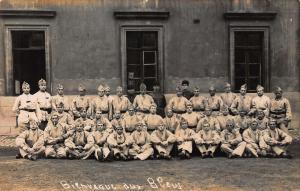 France Bienvenue aux Bleus soldiers WWI real photo Postcard