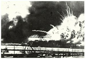 USS SHAW EXPLODES DURING THE ATTACK ON PEARL HARBOR 12/7/41