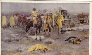 Charles Russel ; A Rainy Morning in Cow Camp , 00-10s ; Cowboys