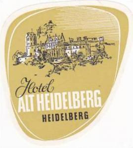 GERMANY HEIDELBERG HOTEL ALT HEIDELBERG VINATGE LUGGAGE LABEL