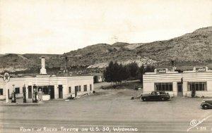 Point of Rocks Tavern Texaco Gas Station on U. S. 30 Old Cars RPPC