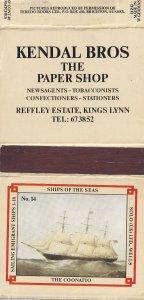 Kings Lynn Norfolk Newsagents Norfolk Coonatto Ship Matchbox Label