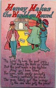 Money Makes the World Go Round Poem c1908 Bishop Vintage Postcard A31