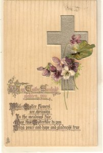 Silver Cross. Flowers. Easter Message Tuck Easter Series PC # E. 3625