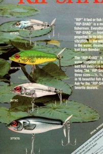 1988 Bomber Rip Shad  Fishing Lure print Ad Old Fishing Lures