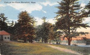 Haverhill Massachusetts~Picnic at the Pines~Folks by Water~Cabin~1910 Postcard