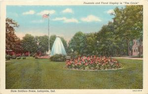 Lafayette Indiana~State Soldiers Home~The Circle~Fountain~1940s Postcard
