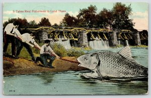 Cassville Wisconsin~It Takes Real Fishermen to Land These~Exaggerated Fish~1915