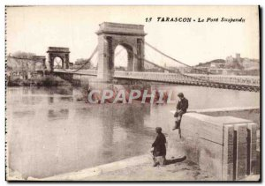 Old Postcard Tarascon Suspension Bridge Children