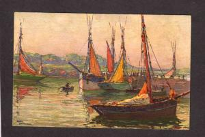 Sailboats Boats French Artist Signed Andre Beronneau Painter Carte Postale