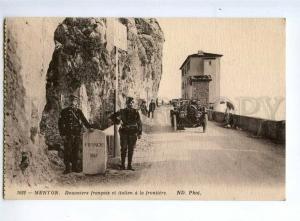 236271 FRANCE MENTON border guards CAR Vintage postcard