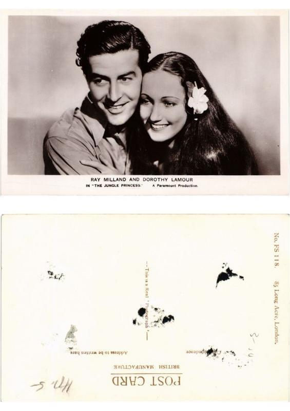CPA Dorothy Lamour and Ray Milland in the Jungle Princess FILM STAR (554042)