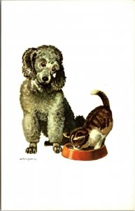 French Poodle Note Card French Fold VINTAGE - POSTCARD - Robert E Lougheed