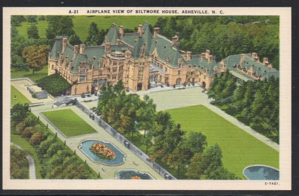North Carolina colour Airplane View Biltmore House, Asheville, N.C unused