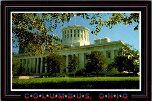 Columbus OH statehouse bold patriotic vintage postcard