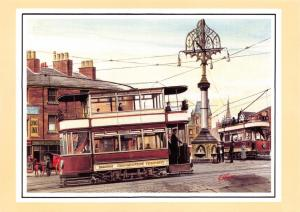 Postcard Art Trams Oldham c1920 Market Place by G.S. Cooper #988