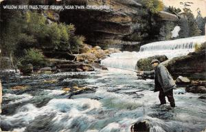 Twin Cities Minnesota~Man in Middle: Willow River Falls~Trout Fisherman~1913 PC