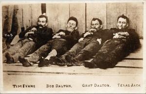 The Dalton Gang Outlaws Killed by Citizens Coffeyville KS RPPC Postcard E57
