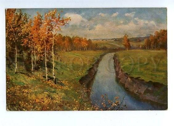131185 RUSSIA Autumn River by LEVITAN vintage Color PC