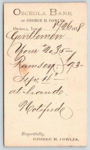 Osceola Iowa~Bank of George H Cowles, Calligraphy Handwriting~1878~Ramsey #73