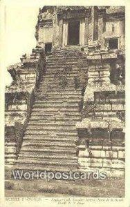 Angkor Vath, Escalier Lateral Ruines D'Angkor Cambodia, Cambodge Stamp on back