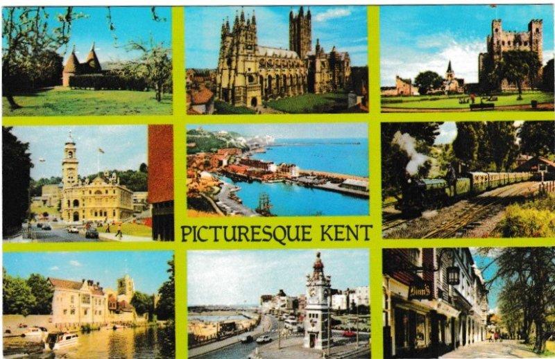 Postcard Kent Picturesque Kent 9 views Colourmaster International