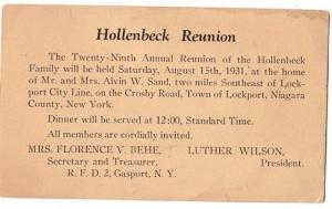 Hollenbeck Family Reunion, Lockport NY