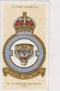 Player Vintage Cigarette Card R A F Badges N0 40 No 74 Fighter Squadron  1937