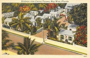 CACTUS TERRACE Birdseye View KEY WEST Florida Roadside c1940s Vintage Postcard
