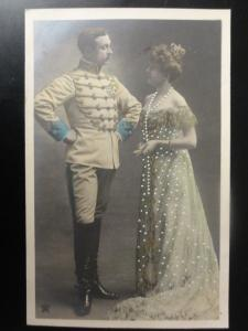 French Romance (2) Officer & Lady, GLAMOUR Hand Coloured RP c1905 by Star 110515