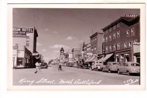 Real Photo, King Street, Cars, Hotels, Clock Tower, North Battleford, Saskatc...