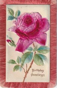 Birthday Greetings, Embossed Silk Red Rose, Fabric Fringe Frame , 00-10s