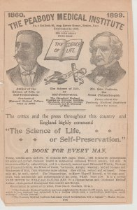 Peabody Medical Institute 1899 Print Ad, No. 4 Bulfinch St, Boston Mass