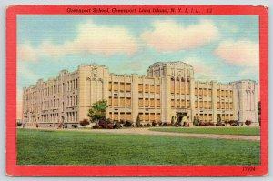 Greenport Long Island New York~Beaux Arts Public School~1940s Red Border Linen
