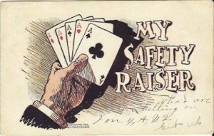 Vintage Postcard from 1906 Illustrated by J. Tully a Hand Holding 4 cards