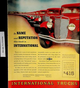 1937 International Trucks Red Harvester Company Vintage Print Ad 5901