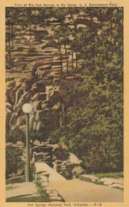 Big Iron Springs at Hot Springs National Park AR, Arkansas - pm 1951 - Linen
