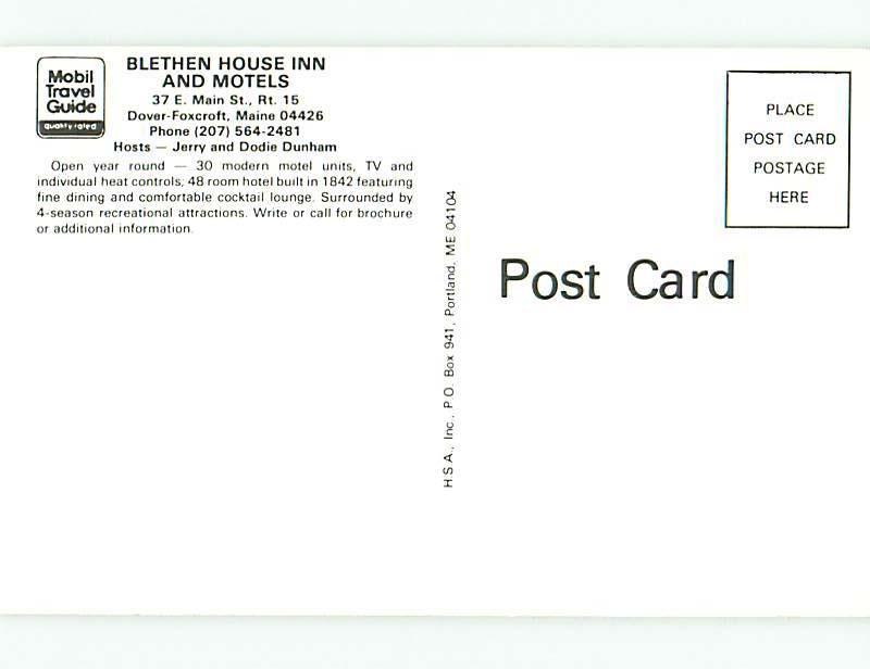 Unused Pre-1980 BLETHEN HOUSE INN MOTEL Dover-Foxcroft Maine ME u0532
