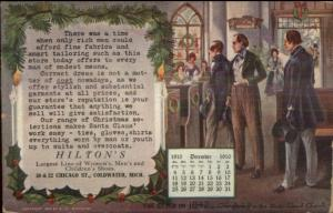 Coldwater MI Hilton's Clothing Store 1910 Calendar Advertising Postcard