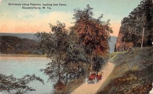 US W. Va. Harpers Ferry, Driveway along Potomac, leading into Town, auto, car
