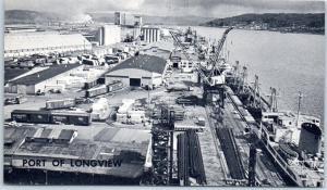 Longview, Washington Postcard PORT OF LONGVIEW Bird's-Eye View c1950s Unused