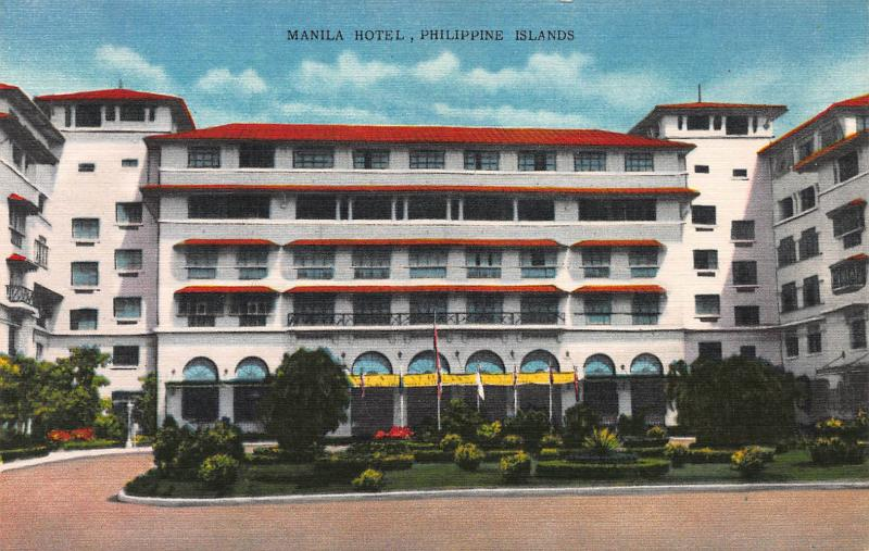 Manila Hotel, Philippine Islands., Early Linen Postcard, Used
