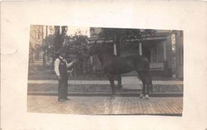 D92/ Horse Animal Real Photo RPPC Postcard c1910 Training Occupational Work 17